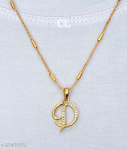Alphabet Letter D with Gold Chain
