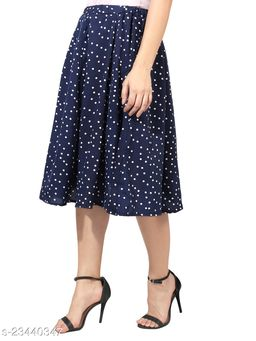 Navy Blue With Small White dot Print Mid Calf Length Women Panel Polyester Skirt