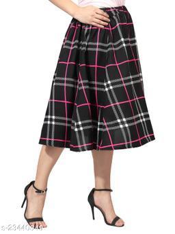 Black fuschia check Print Mid Calf Length Women Panel Polyester Skirt