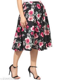 Pink Rose on Black Base Print Mid Calf Length Women Panel Polyester Skirt