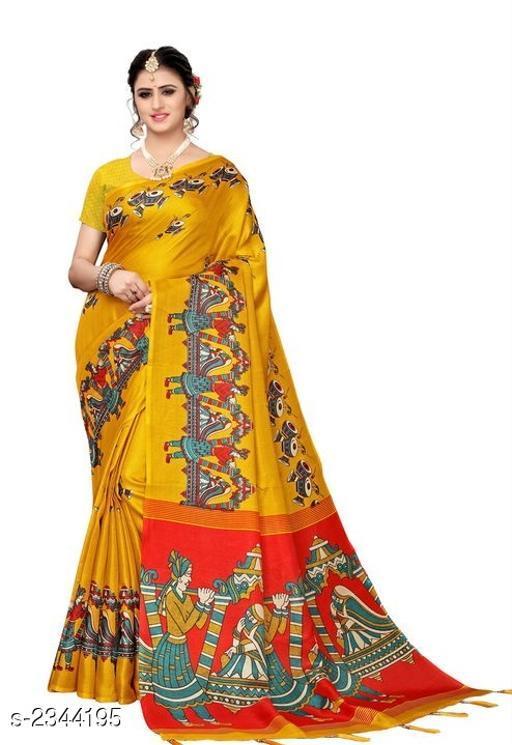 Stylish Khadi Cotton Silk Printed Women's Saree