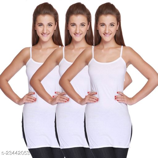 Women Pack of 3 White Cotton Camisoles