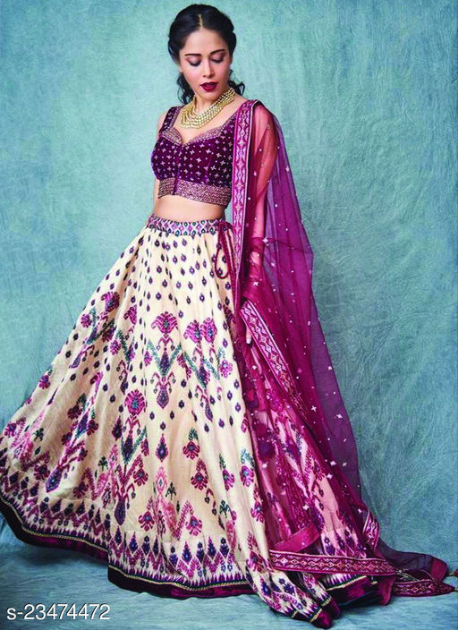 off white Embroidered Attractive Party Wear Lehenga LC--210