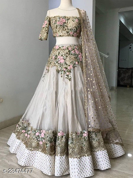 Black Embroidered Attractive Party Wear Lehenga LC--230