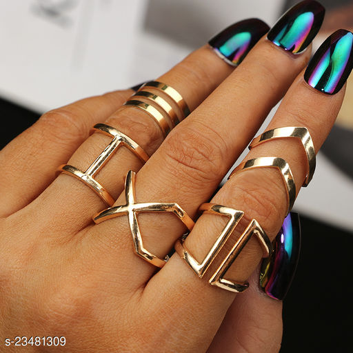 Arzonai new alloy cross knuckle geometric ring 5-piece set jewelry