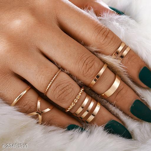 Arzonai new jewelry European and American fashion retro metal smooth twist cross ring 8-piece set