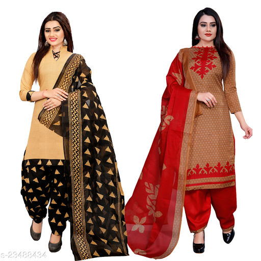 DesimissKart Trendy Cotton Printed Suits & Dress Material Pack of -2