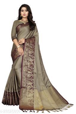 Cotton Silk Jacquard Saree with Blouse Piece,Free Size