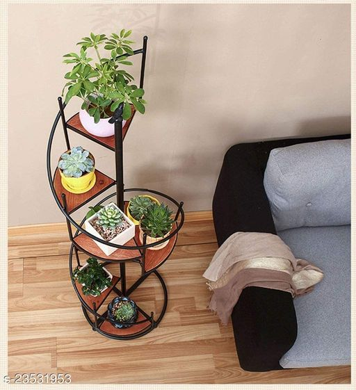 Wooden & Wrought Iron Stair Shaped Plant Stand In Black Color