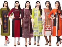 Sancom Women Multi Color Crepe Digital Print Straight Kurta (Pack Of 6)