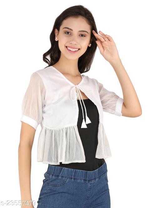 UNFAKENOWWomen Jacket Style Short Sleeve White Solid Net Shrug