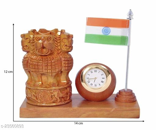 pen Holder With Flage and Clock