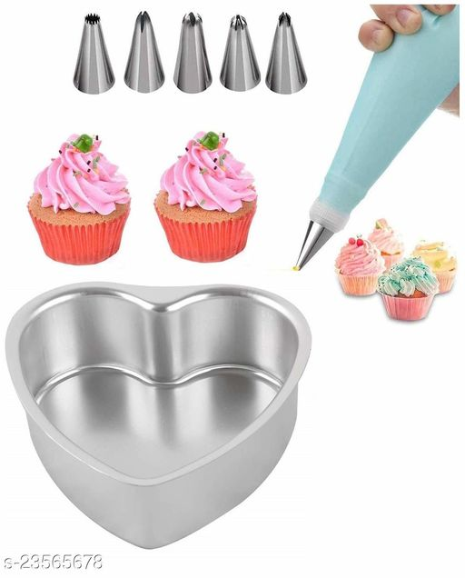Baking Combo of Aluminium Heart Shape Cake Baking Mould and Stainless Steel Cake Decorating Nozzle with Piping Bag Set of 6pcs