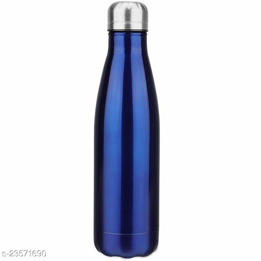 Stainless Steel Double Wall Cola Water Bottle Hot & Cold Upto 4 Hours- Blue- 500 ml