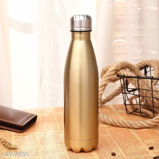 Stainless Steel Double Wall Cola Water Bottle Hot & Cold Upto 4 Hours- Gold- 500 ml