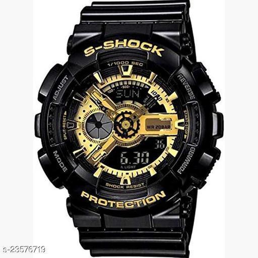 Skylark Shock Black and Golden-Digital Luxury Sports Watch for Men's and Boy's Analog-Digital Watch - For Boys