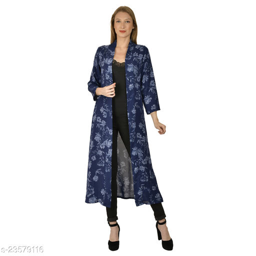 Serein women's Shrug ( Blue colored floral printed georgette long jacket with Full sleeve)