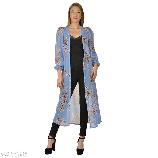 Serein women's Shrug ( Sky blue floral printed grorgette long shrug with elasticated puff sleeve)