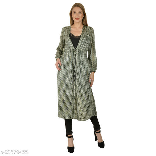 Serein women's Shrug (Green Checks printed georgette jacket with front tie-up & long elasticated puff sleeve)