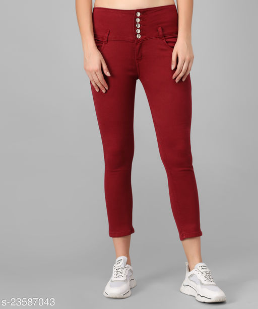 M MODDY Women's Maroon Slim Fit 5 Button Stretchable Ankle Length Denim Lycra Jeans