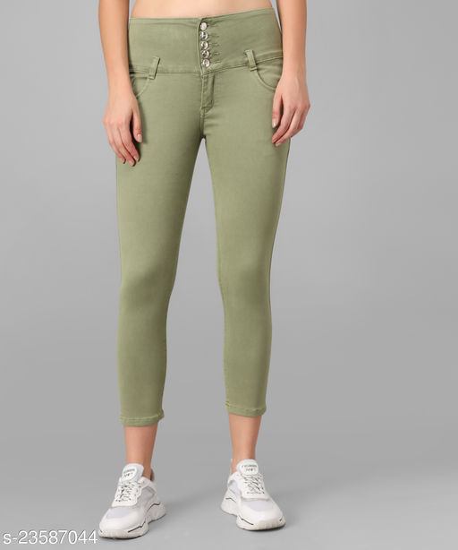 M MODDY Women's Light-Green Slim Fit 5 Button Stretchable Ankle Length Denim Lycra Jeans