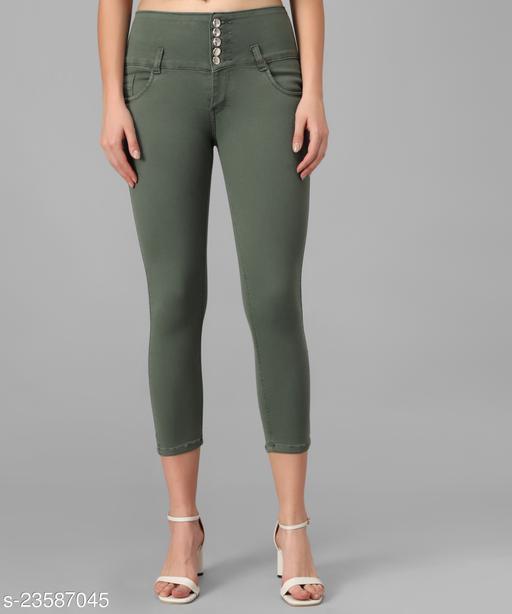 M MODDY Women's Dark-Green Slim Fit 5 Button Stretchable Ankle Length Denim Lycra Jeans