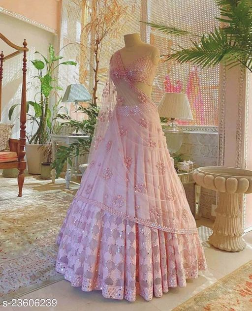 Baby pink color partywear lehenga choli with embroidery work