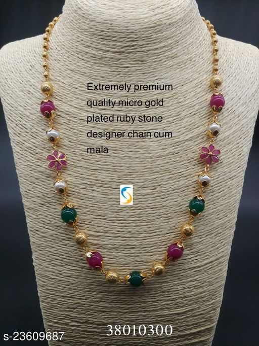 MICRO GOLD PLATED RUBY STONE CHAIN (MULTI COLOUR)