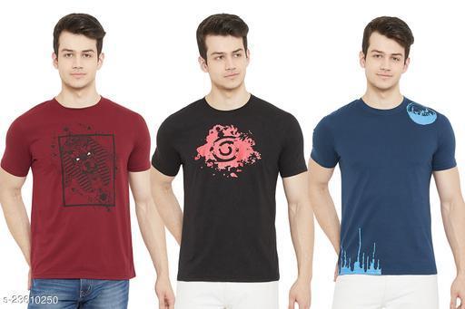 URKNIT Round Neck Half Sleeve Cotton Printed Tshirt for Men ( Set of 3 )