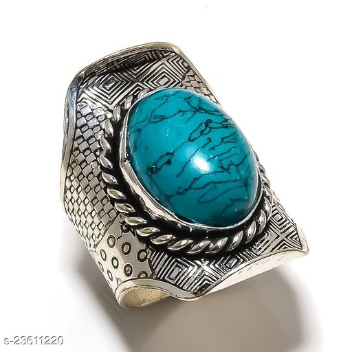 Santa Rosa Turquoise Gemstone Ethnic Silver Plated Jewelry Ring Size Adst.