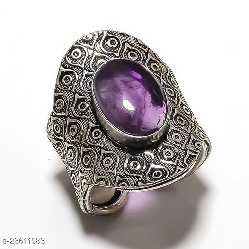 Amethyst Gemstone Handmade Ethnic Silver Plated Jewelry Ring Size Adst.