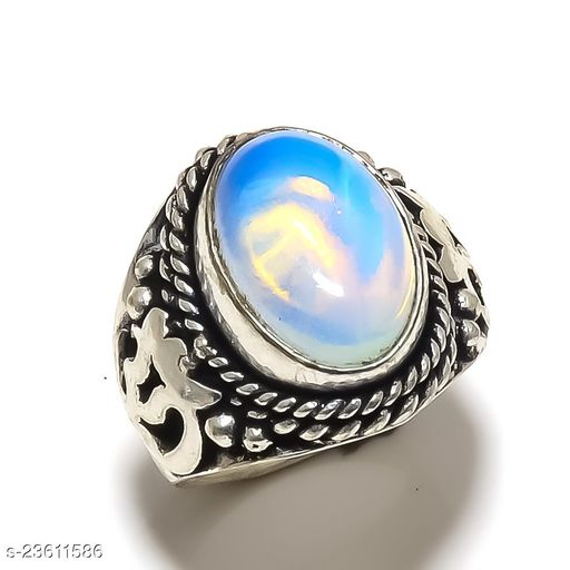 Milky Opalite Gemstone Handmade Ethnic Silver Plated Jewelry Ring Size 6