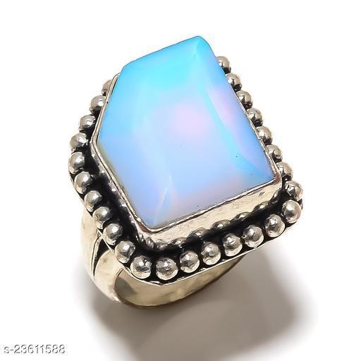 Swiss Blue Topaz Gemstone Handmade Ethnic Silver Plated Jewelry Ring Size 8