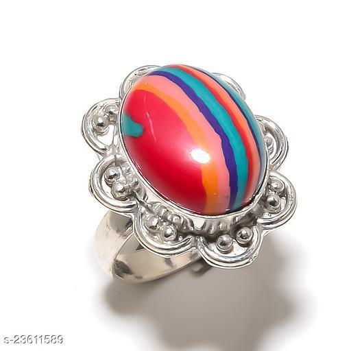 Rainbow Calsilica Gemstone Handmade Silver Plated Jewelry Ring Size 6.5