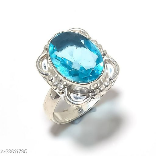 Artificial Gemstones & Beads Handmade Silver Plated Jewelry Ring Size 39