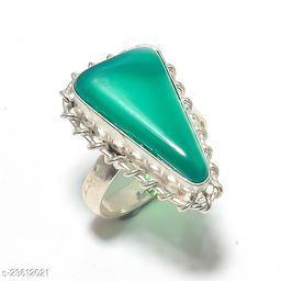 Artificial Gemstones & Beads Handmade Silver Plated Jewelry Ring Size 35