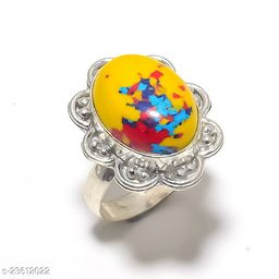 Artificial Gemstones & Beads Handmade Silver Plated Jewelry Ring Size 36