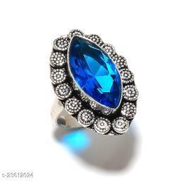 Malachite Gemstone Handmade Ethnic Style Silver Plated Jewelry Ring Size 7
