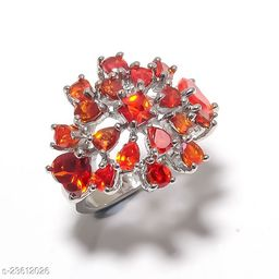 Artificial Gemstones & Beads Handmade Silver Plated Jewelry Ring Size 29