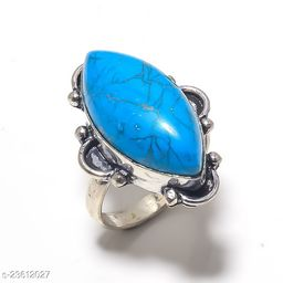Artificial Gemstones & Beads Handmade Silver Plated Jewelry Ring Size 28