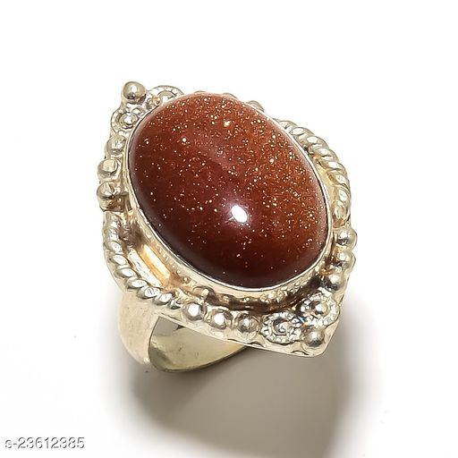 Red Goldstone Gemstone Handmade Ethnic Silver Plated Jewelry Ring Size 6