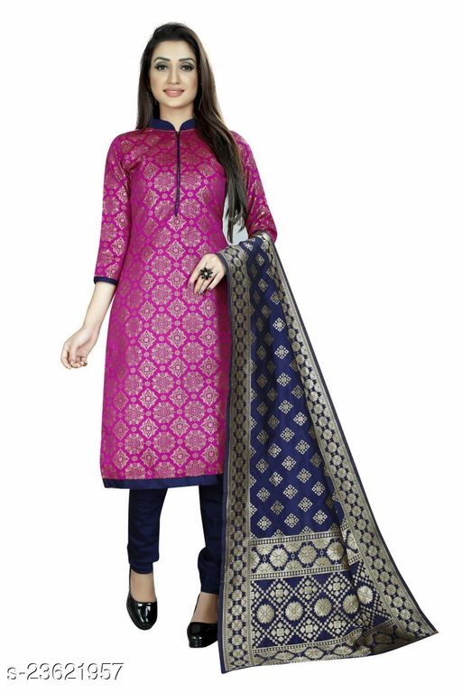 Trendy Brocade Pink Colour Unstitched Dress Material