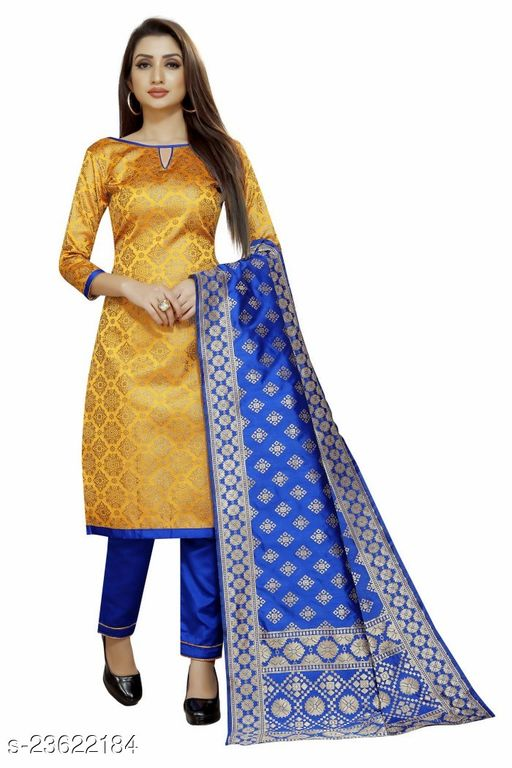 Trendy Brocade Mustard Colour Unstitched Dress Material