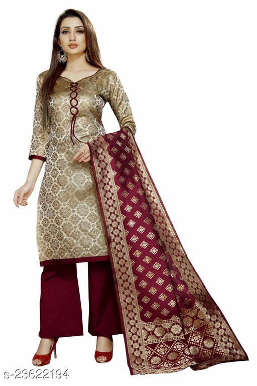 Trendy Brocade Off-White Colour Unstitched Dress Material
