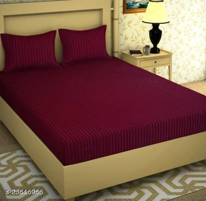 Premium Satin Stripes hotel Bedsheet with 2 Pillow Covers Stripes Desoign Queen Size