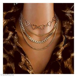 Arzonai Vintage Multi-Layered Love Heart Pendant Choker Necklace Set Boho Golden Stars Long Chain Necklaces Women
