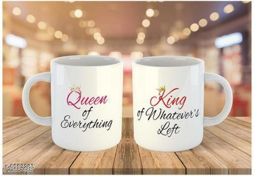 Queen King ceramic couple mug