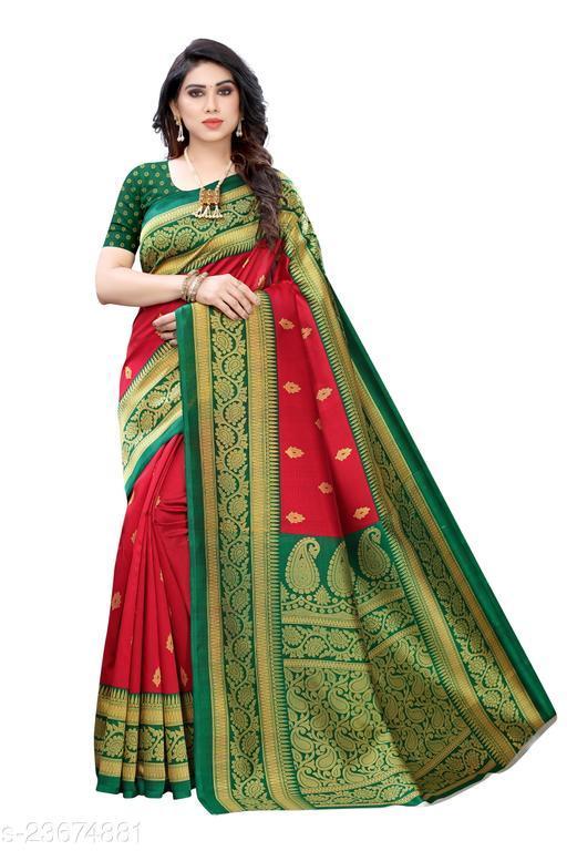 Heartloom Creation Fancy Mysore Silk Self Design Floral Printed Saree