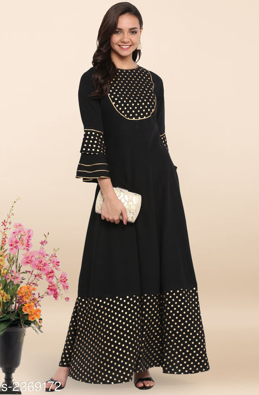 Kurtis & Kurtas Women's Party Wear Designer Kurti  *Fabric* Crepe  *Sleeves* Sleeves Are Included  *Size * XS-34 in , S-36 in ,M-38 in , L-40 in , XL-42 in, XXL-44 in , XXXL-46 in  *Length* Up To 59 in  *Type* Stitched  *Description* It Has 1 Piece Of Women's Kurti  *Work* Printed  *Sizes Available* XS, S, M, L, XL, XXL, XXXL   Catalog Rating: ★4.3 (771) Supplier Rating: ★4.1 (8188) SKU: JNE3313-KR  Shipping charges: Rs1 (Non-refundable) Pkt. Weight Range: 300  Catalog Name: Janasya Womens Foil Print Crepe Flared Style New Kurtis - Janasya Code: 576-2369172-9912-797