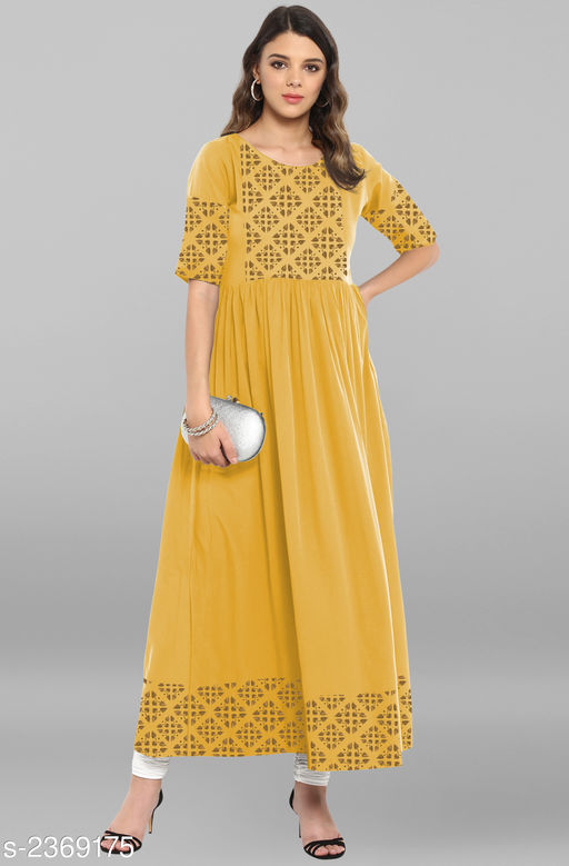 Kurtis & Kurtas Women's Party Wear Designer Kurti  *Fabric* Crepe  *Sleeves* Sleeves Are Included  *Size * XS-34 in , S-36 in ,M-38 in , L-40 in , XL-42 in, XXL-44 in , XXXL-46 in  *Length* Up To 54 in  *Type* Stitched  *Description* It Has 1 Piece Of Women's Kurti  *Work* Printed  *Sizes Available* XS, S, M, L, XL, XXL, XXXL   Catalog Rating: ★4.3 (771) Supplier Rating: ★4.1 (8188) SKU: JNE3365-KR-1052  Shipping charges: Rs1 (Non-refundable) Pkt. Weight Range: 300  Catalog Name: Janasya Womens Foil Print Crepe Flared Style New Kurtis - Janasya Code: 194-2369175-9921-816